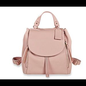 Levenger Leather Carrie Backpack Blush Pink